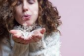 stock photo of mystique  - blowing snowflakes - JPG