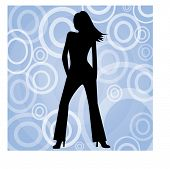 hip female on circles background vector