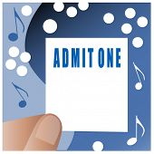 admit one ticket held in hand illustration room for your input