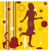 female silhouette with retro circles and colors