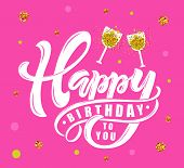 Happy Birthday Text As Birthday Badge/tag/icon poster