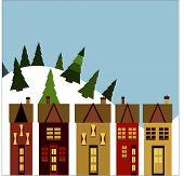 winter ski village illustration vector
