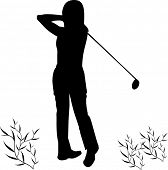female golfer illustration series