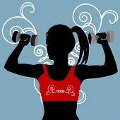 silhouette of female working out with filigree behind