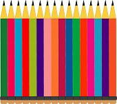 sharp colored pencils in a row illustration