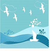 birds over babbling brook illustration