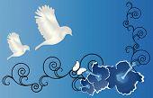 birds landing on hibiscus with filigree illustration