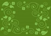 pic of four leaf clover  - four leaf clover and filigree background - JPG
