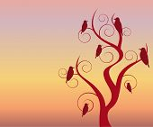 birds in  tree at twilight/dawn vector