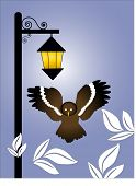 streetlight at night with owl and leaves vector