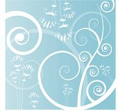 scrolls with funky flowers vector