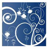 funky flower background vector in blue