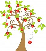 apple falling from the tree vector