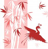 bamboo with bird vector