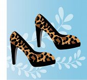 leopard print round toed platform shoes vector