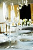 table-setting focus of crystal champagne flutes