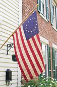 stock photo of betsy ross  - Betsy Ross flag was the first flag of the United States having thirteen stars in a circle representing a new constellation - JPG