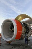 engineering maintenance of large jet engine, turbine