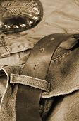 jeans, denim, belt and gloves in brown toning