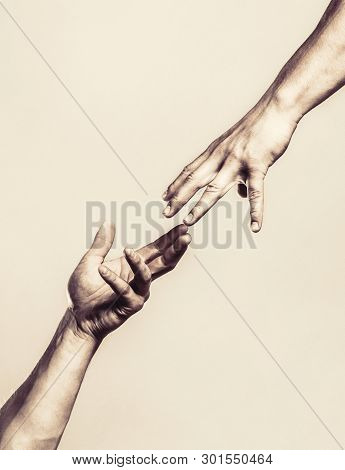 poster of Two Hands, Helping Arm Of A Friend, Teamwork. Helping Hand Outstretched, Isolated Arm, Salvation. Cl