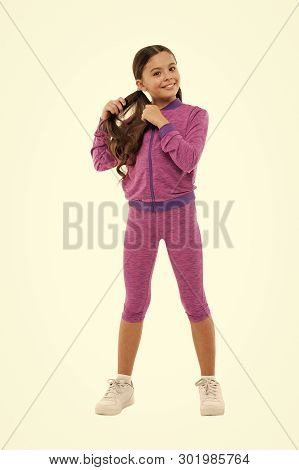 poster of Deal With Long Hair While Exercising. Working Out With Long Hair. Girl Cute Kid With Long Ponytails