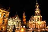 Schlossplatz And St.Trinitatis Cathedral in Dresden, Germany