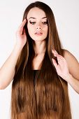 beautiful girl with a long hair