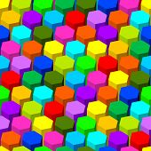 Hexagon seamless abstract colorful pattern.