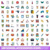 100 School Accessories Icons Set. Cartoon Illustration Of 100 School Accessories Icons Isolated On W poster