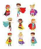 Vector Illustration Of Super Hero Children. Kids In Superhero Costumes, Super Powers, Kids Dressed I poster