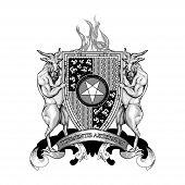 Coat Arms Crest Heraldry Hell Devil Demon Satan Lucifer Antichrist poster