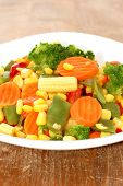Cooked Carrots Sweet Corn And Broccoli On Plate poster
