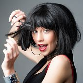 Crazy Girl With Funny Brunette Hairdo. Woman Cut Hair With Scissors. Hairdresser Salon. Sexy Girl. S poster