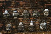 Ancient mask yak on wall Red brick