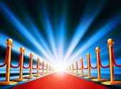 picture of balustrade  - A red carpet leading to somewhere exciting with bright light and abstract background - JPG