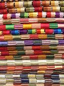 Colourful, hand-woven stripey cloths