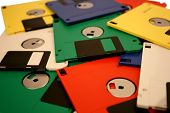 Pile Of Old Multi Coloured Floppy Disks