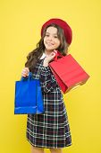 Girl With Shopping Bag. Save Money. Rediscover Great Shopping Tradition. Shopping And Purchase. Blac poster