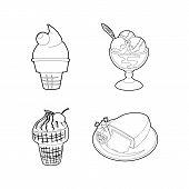 Icecream Icon Set. Outline Set Of Icecream Icons For Web Design Isolated On White Background poster