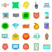Cybercrime Icons Set. Cartoon Set Of 25 Cybercrime Icons For Web Isolated On White Background poster
