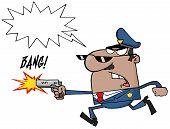 männlichen Afroamerikaner Polizisten mit einer Pistole