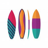 Different Surfboard Icons. Flat Design Various Surf Desk Types. Surfing Desks And Boards Of Various  poster