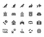 Pet Shop Flat Glyph Icons Set. Dog Carrier, Cat Scratcher, Bird Cage, Rabbit, Fish Aquarium, Pets Pa poster