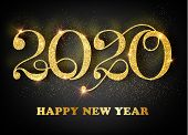 2020 Happy New Year. Gold Numbers Design Of Greeting Card. Gold Shining Pattern. Happy New Year Bann poster