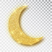 Crescent Islamic For Ramadan Kareem Design Element Isolated. Gold Glitter Moon Vector Icon Of Cresce poster
