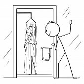 Cartoon Stick Figure Drawing Conceptual Illustration Of Curious Man Or Voyeur Watching Naked Woman T poster