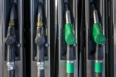Gasoline Pumps At Petrol Station