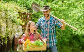 Inspect Your Garden Daily To Spot Insect Trouble Early. Family Dad And Daughter Little Girl Planting poster