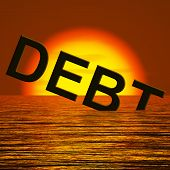 Debt Word Sinking Showing Bankruptcy Poverty And Being Broke