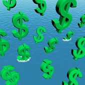 Dollars Falling In The Ocean Showing Depression Recession And Ec